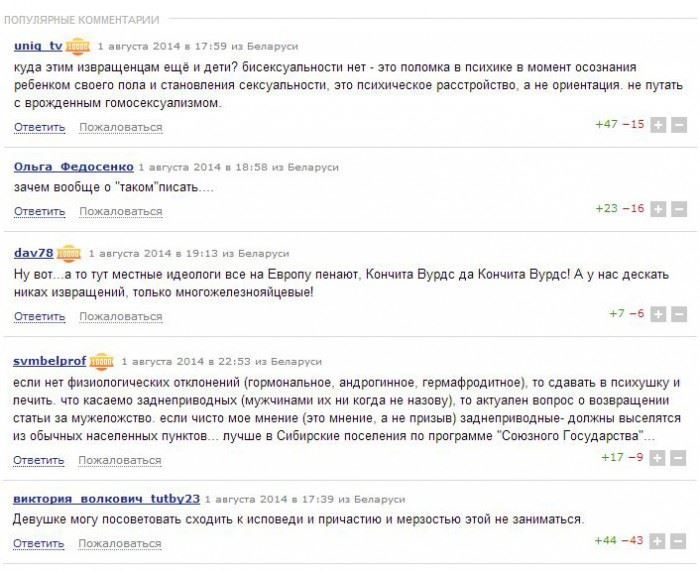 Комментарии к материалу про лесбиянок на tut.by
